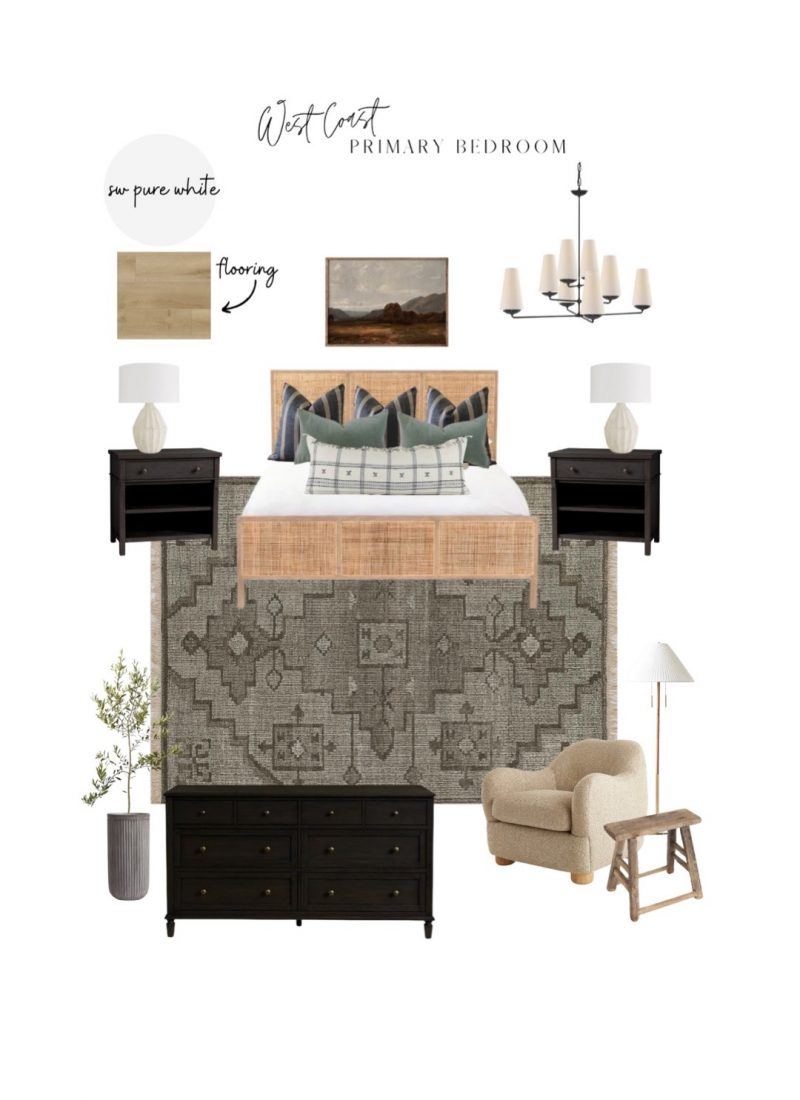 First look at our primary bedroom design with two designs: Save or Splurge